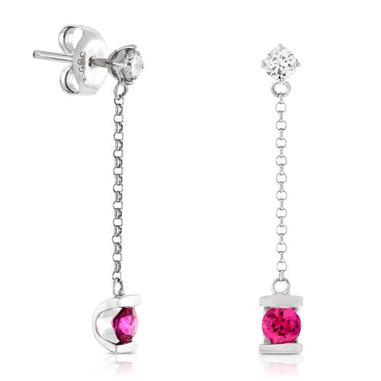Ruby & Diamond Dangle Earrings 14K