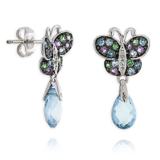 Gemstone Butterfly Earrings 14K
