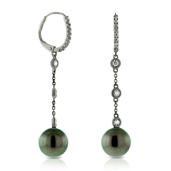 Tahitian Cultured Pearl & Diamond Dangle Earrings 14K