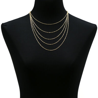 Sparkle Bib Necklace, 14K