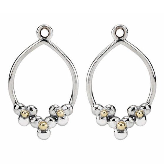 PANDORA Triple Daisy Hoop Earring Charm, Silver & 14K RETIRED