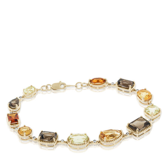 Mixed Cut Smoky Quartz, Citrine & Diamond Bracelet 14K