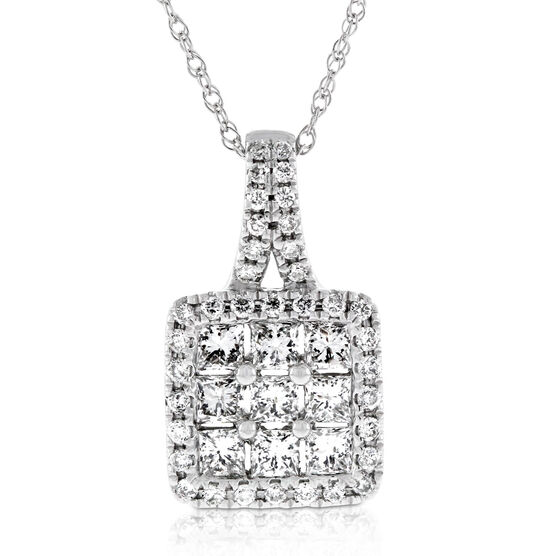 Diamond Mosaic Princess Cut Pendant 14K