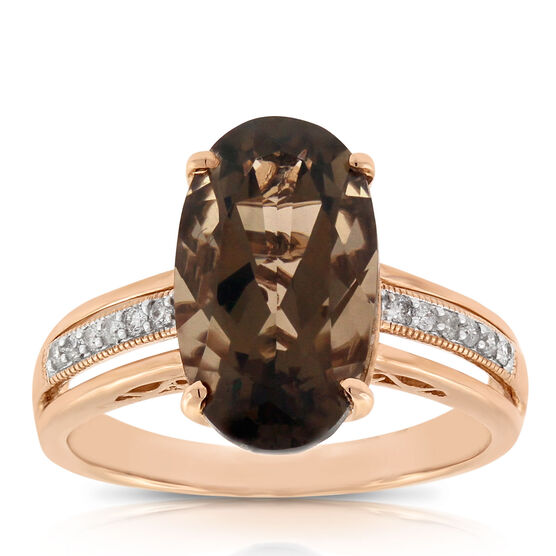 Rose Gold Oval Smoky Quartz & Diamond Ring 14K