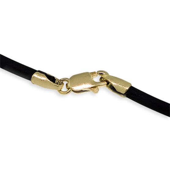 Onyx Pendant, Rubber Cord & 14K