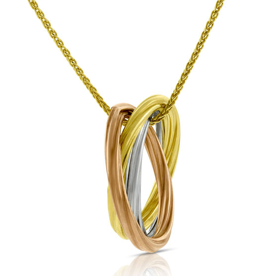 Tri-Color Ring Pendant 14K