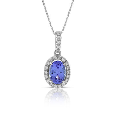 Tanzanite & Diamond Pendant 14K