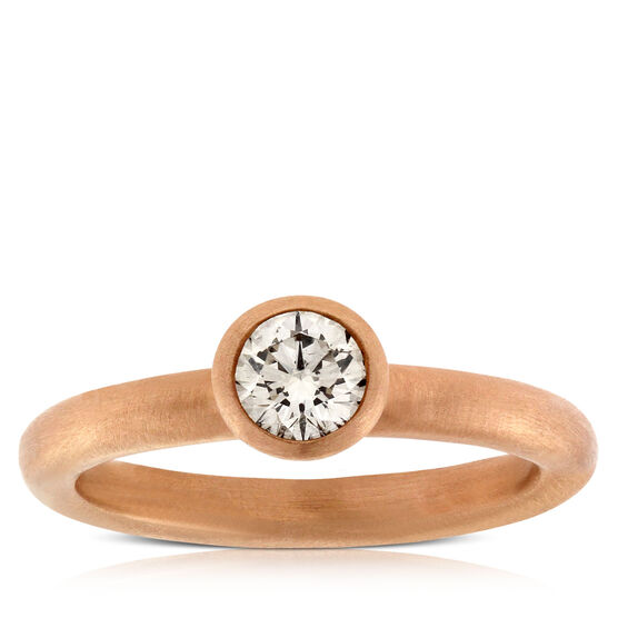 Rose Gold & Brown Diamond Solitaire Ring 14K