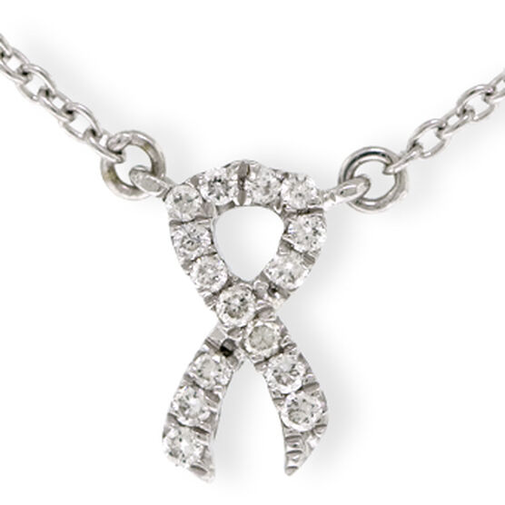 Tiny Ribbon Diamond Necklace 14K