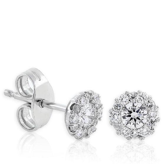 Halo Diamond Earrings 14K