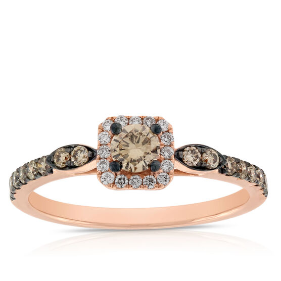 Rose Gold Brown & White Diamond Halo Ring 14K