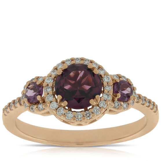 Rhodolite Garnet & Diamond Ring, 14K Rose