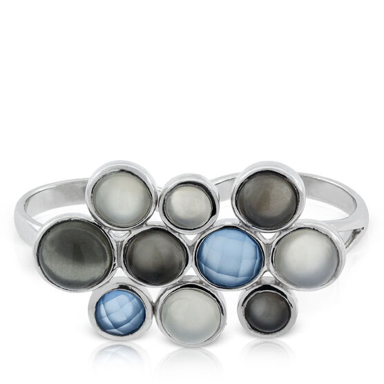 Lisa Bridge Moonstone & Chalcedony Bubble Double Ring