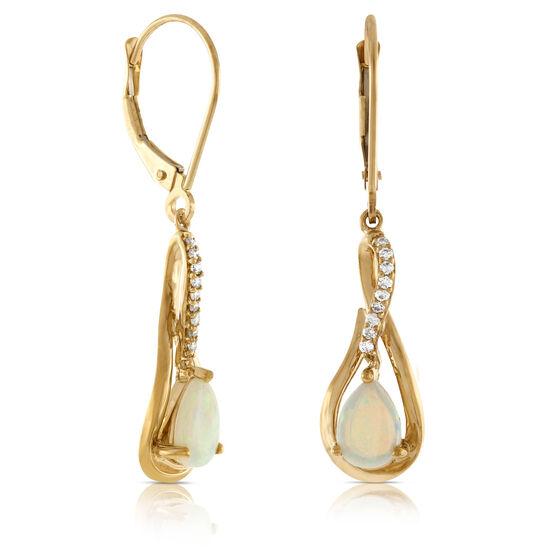 Pear Shaped Opal & Diamond Drop Earrings 14K