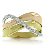 Tri-Color Crossover Diamond Ring 14K