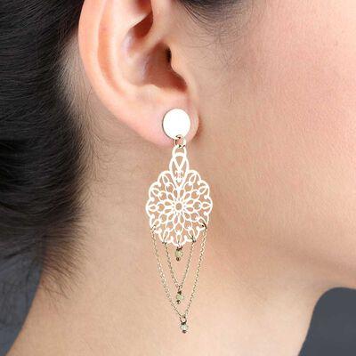 Peridot Bead Flower Dangle Earrings 14K