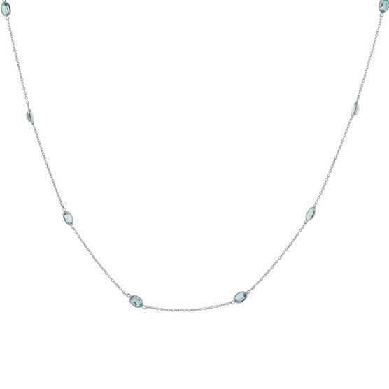 Blue Topaz Necklace in Sterling Silver, 38""
