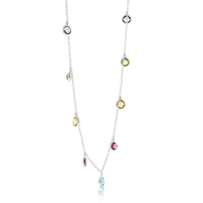 Dangling Multi-Gem Necklace 14K