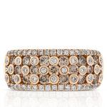Brown & White Diamond Ring 14K Rose