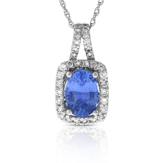 Oval Sapphire & Diamond Halo Pendant 14K