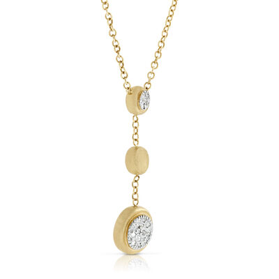 Toscano Satin Diamond Three Station Necklace 14K
