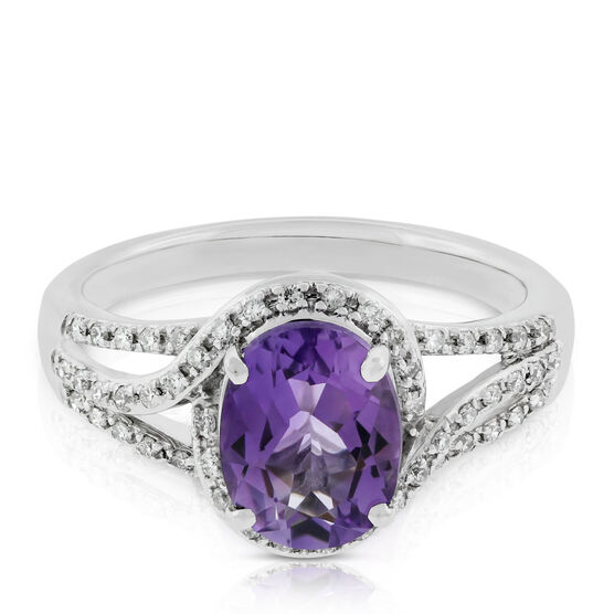 Oval Amethyst & White Sapphire Ring 14K
