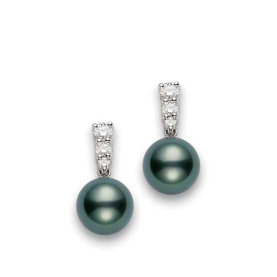 Mikimoto Tahitian Cultured Pearl & Diamond Earrings, 9mm, A+ 18k
