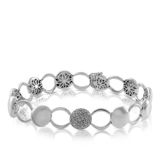 Button Link Diamond Bracelet in Sterling Silver