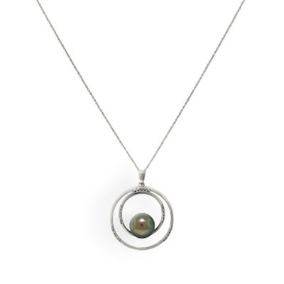 Tahitian South Sea Cultured Pearl & Diamond Pendant 14K