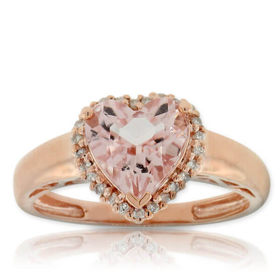 Rose Gold Morganite & Diamond Heart Ring 14K