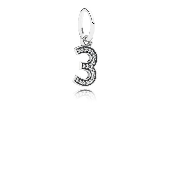 PANDORA CZ Dangle '3' Charm