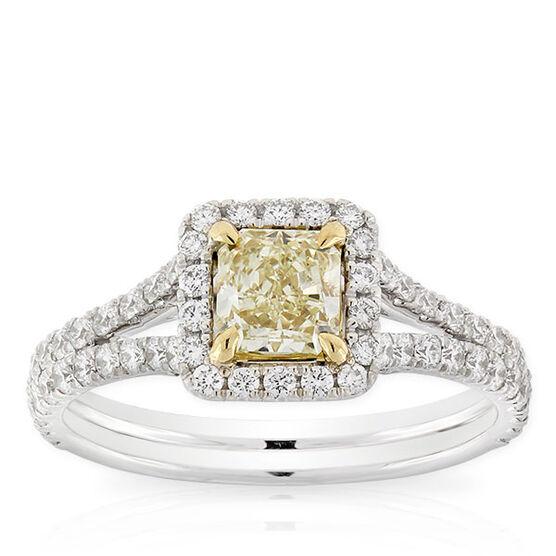 Radiant Cut Yellow Diamond Halo Ring 65 Ct.