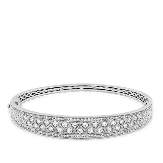 Tapered Diamond Bangle Bracelet 14K