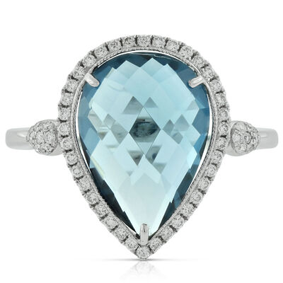 Checkered Blue Topaz & Diamond Ring 14K