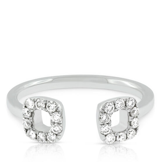 Open Cushion Diamond Cuff Ring 14K