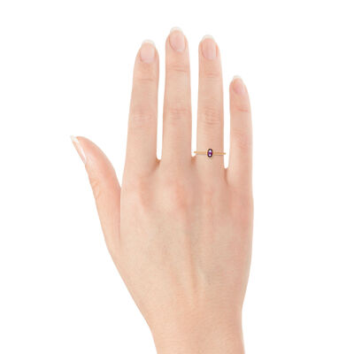Rose Gold Amethyst Ring 14K