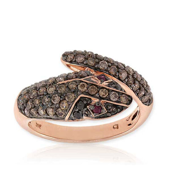 Rose Gold Diamond & Ruby Snake Ring 14K