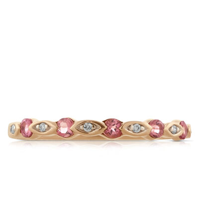 Rose Gold Pink Tourmaline & Diamond Band 14K