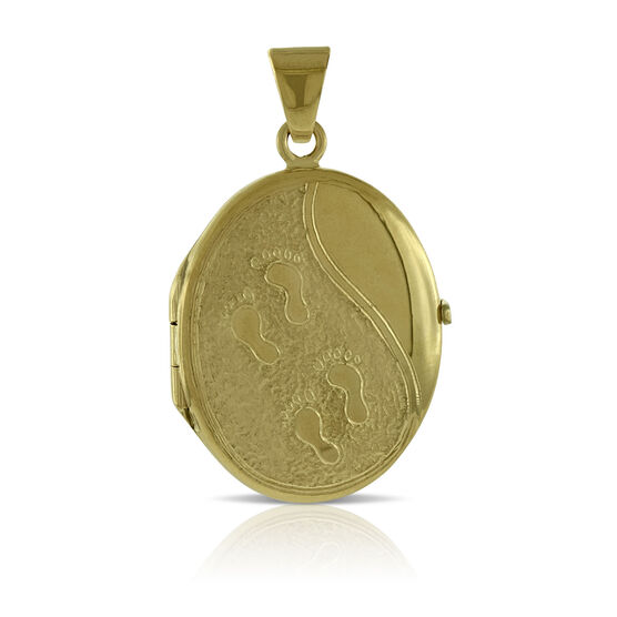 Toscano Oval Footprints Locket 18K