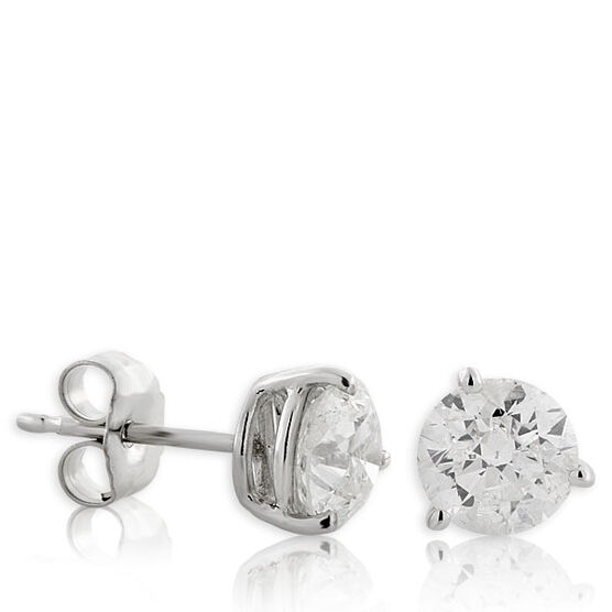Diamond Solitaire Stud Earrings 14K, 1 & 1/2 ctw.