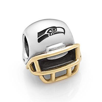 PANDORA Seattle Seahawks NFL Helmet, Silver & 14K