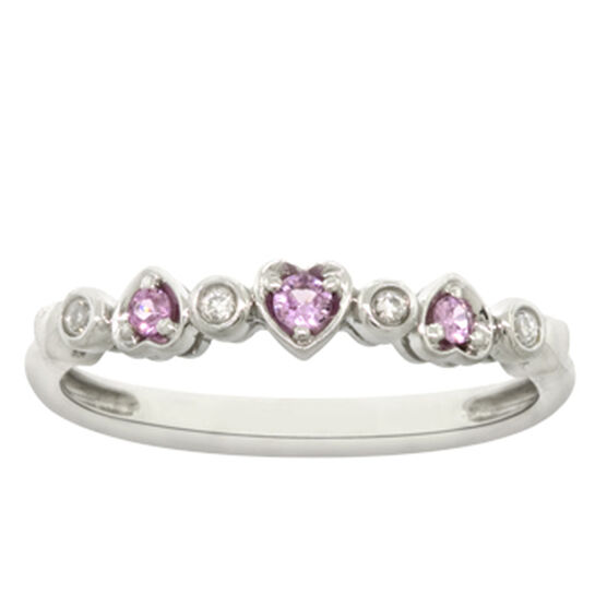 Pink Sapphire & Diamond Stackable Ring 14K