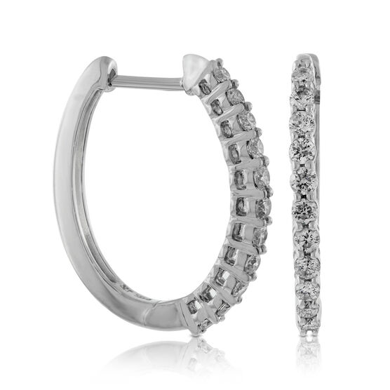 Oval Diamond Hoop Earrings 14K