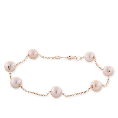 Rose Gold Freshwater Cultured Pearl Bracelet 14K