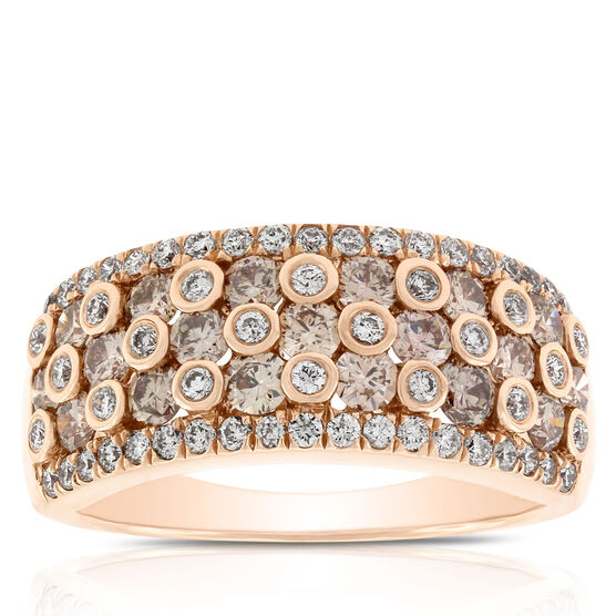 Brown & White Diamond Ring 14K Rose