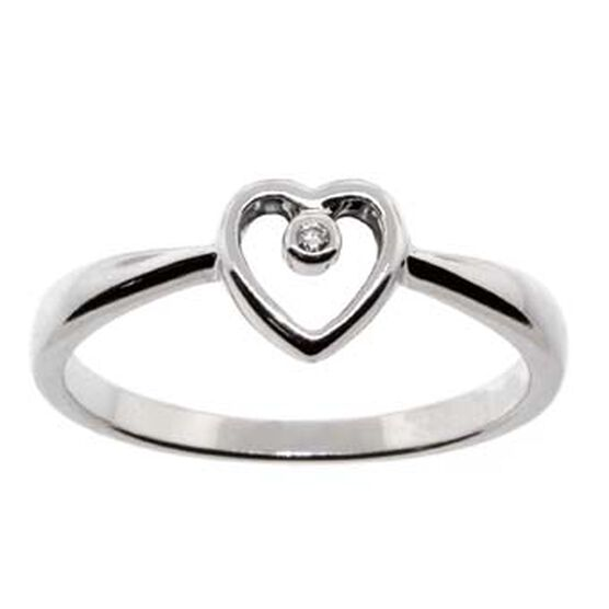 Open Heart Diamond Ring 14K
