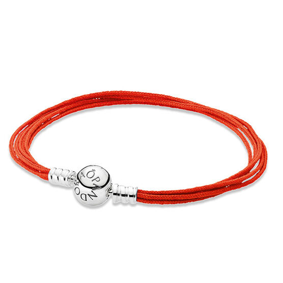 "PANDORA Multi-Strand Orange Cord Bracelet, 6.7"" RETIRED"