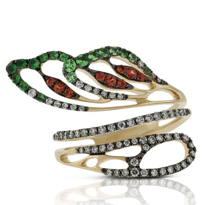 Orange Sapphire, Tsavorite & Diamond Bypass Ring 14K