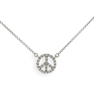 Tiny Peace Sign Diamond Necklace 14K