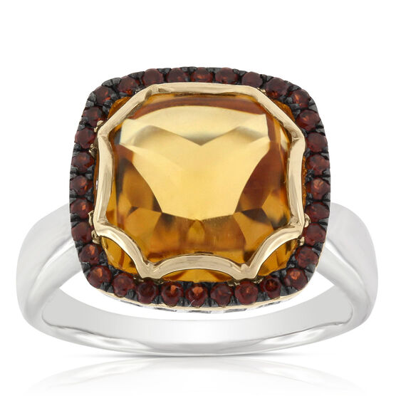Citrine & Garnet Cocktail Ring 14K